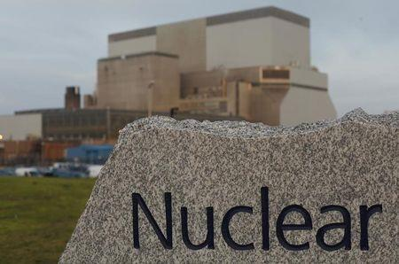 A sign is seen outside EDF Energy's Hinkley Point B nuclear power station in Bridgwater, southwest England