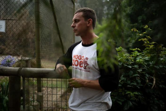 Director of Mogo Zoo Chad Staples pauses during an interview with Reuters