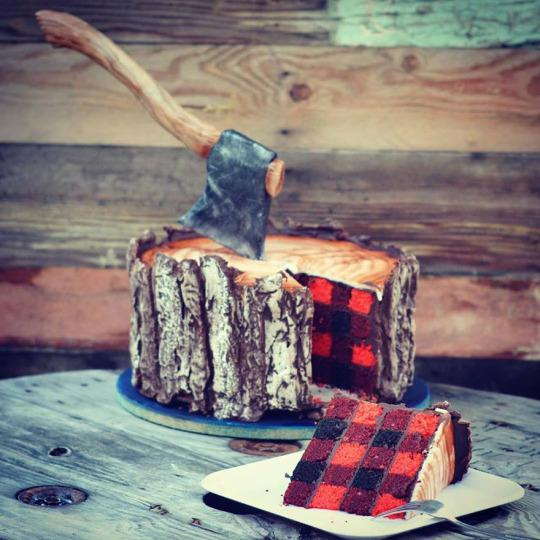 "<p>This faux log, with freakily lifelike <a href=""http://katiebrownhomeworkshop.com/recipes/rosie-fudge/"">chocolate</a> bark, a beautifully crafted (and completely edible) axe, and buffalo plaid red velvet <a href=""http://katiebrownhomeworkshop.com/recipes/colorful-birthday-cake/"">cake</a> is a masterpiece fit for the Oregon Trail. <i>(Photo: <a href=""https://sugargeekshow.com/news/this-lumberjack-tree-trunk-cake-looks-cozy-on-the-inside"">Sugar Geek Show</a>)</i><br /></p>"