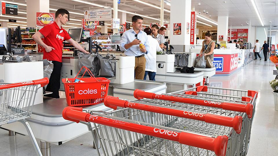 Pictured is a Coles checkout. Source: Getty