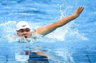 China's Jiang Yuyan competes in the women's 50m butterfly S6 swimming final (AFP/CHARLY TRIBALLEAU)