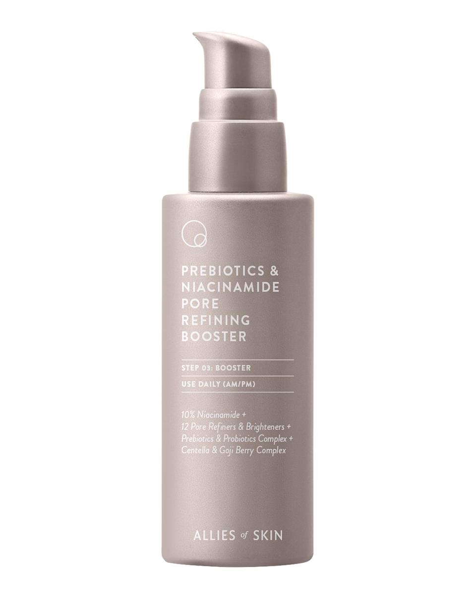 <p>Allies of Skin is known for its efficient formulations, and the <span>Allies of Skin Prebiotics and Niacinamide Pore-Refining Booster</span> ($65) is the brand's latest addition. The trifecta of niacinamide, probiotics, and prebiotics aims to brighten and strengthen the skin while restoring the all-important skin barrier. Either mix it into serums, moisturizers, or masks, or apply it directly to skin after cleansing.</p>