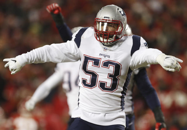 New England Patriots middle linebacker Kyle Van Noy (53) celebrates after  sacking Kansas City fc75b5a6f