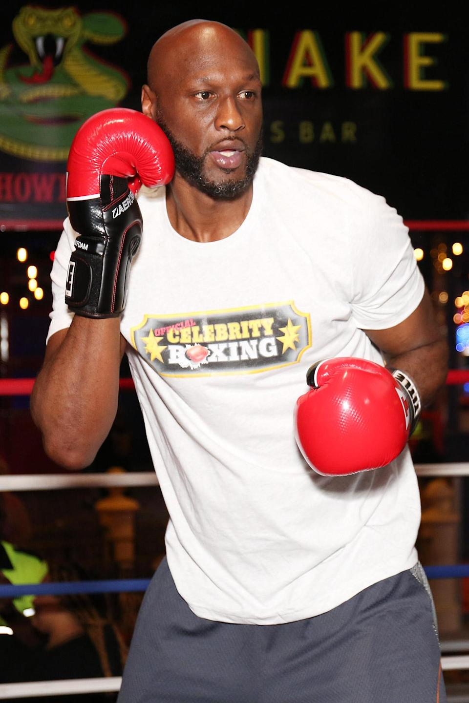 <p>Lamar Odom is seen training for a celebrity boxing match against Aaron Carter on June 8 in Atlantic City, New Jersey. </p>