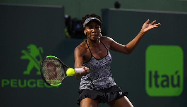 Venus Williams of the US hits a forehand during her Miami Open quarter-final match against Angelique Kerber of Germany, at Crandon Park Tennis Center in Key Biscayne, Florida, on March 29, 2017 (AFP Photo/Rob Foldy)