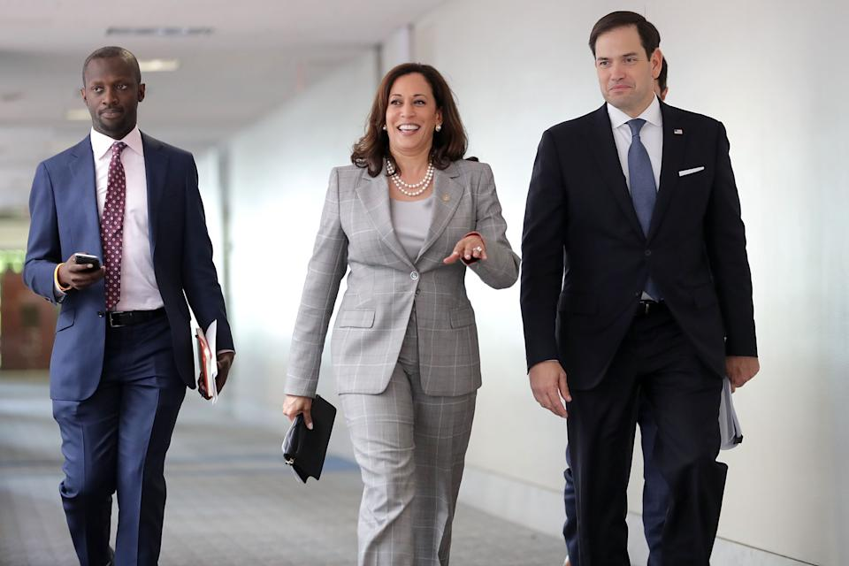 WASHINGTON, DC - JULY 13:  Senate Intelligence Committee members Sen. Kamala Harris (D-CA) (C) and Sen. Marco Rubio (R-FL) (R) arrive for a closed-door committee meeting in the Hart Senate Office Building on Capitol Hill July 13, 2017 in Washington, DC. Some members of the committee have demanded that Donald Trump, Jr. testify before the intelligence committee after it was revealed that he and Jared Kushner and Paul Manafort met with a Russian lawyer in hopes of getting opposition information on Hillary Clinton during the 2016 election.  (Photo by Chip Somodevilla/Getty Images)