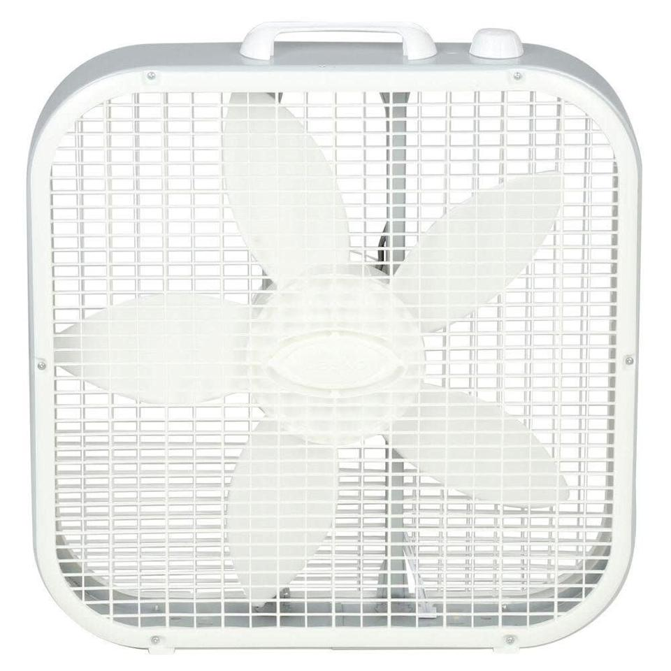 "This box fan has three quiet speeds, an easy-to-carry handle and top-mounted controls. It has a 4.1-star rating with over 1,000 reviews. <a href=""https://fave.co/3cgnuuU"" rel=""nofollow noopener"" target=""_blank"" data-ylk=""slk:Find it for $19 at Home Depot"" class=""link rapid-noclick-resp"">Find it for $19 at Home Depot</a>."
