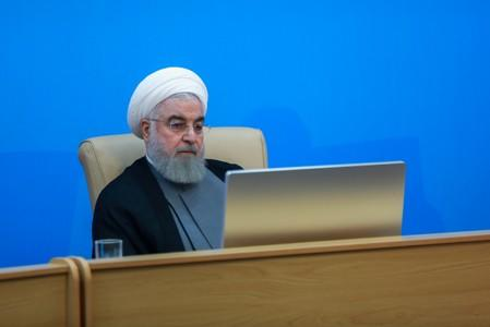 Iranian President Hassan Rouhani is seen during meeting with health ministry top officials in Tehran