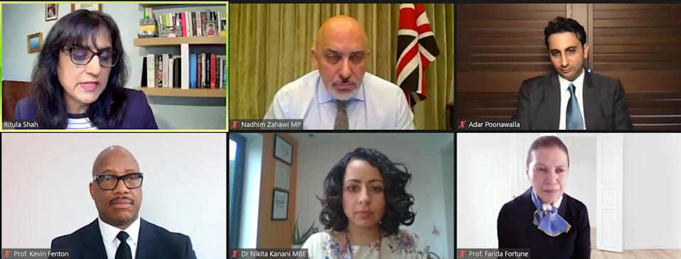 Panellists taking part in the online discussion. British Asian Trust