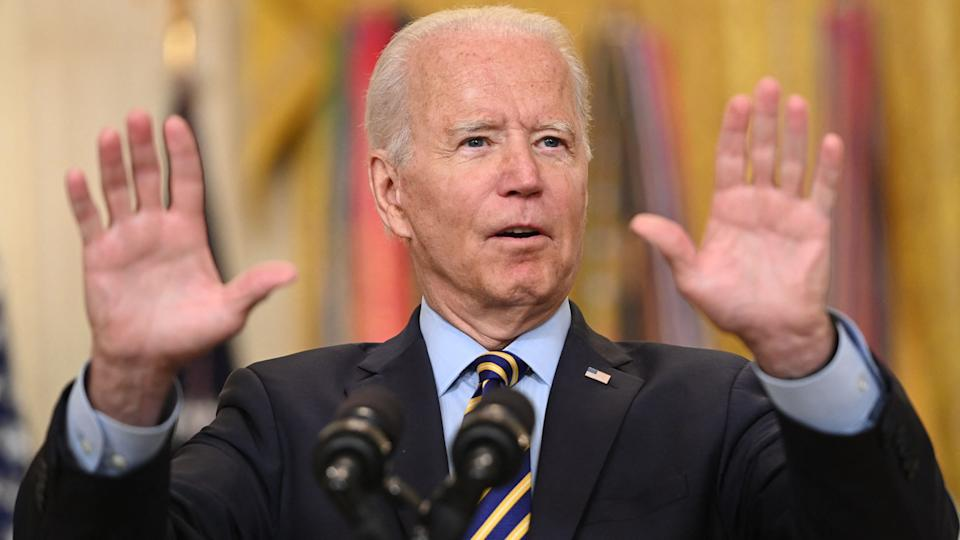 US President Joe Biden speaks about the situation in Afghanistan from the East Room of the White House in Washington, DC, July 8, 2021. (Saul Loeb/AFP via Getty Images)
