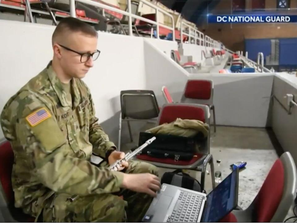 Music teacher continues teaching while deployed to US Capitol  (NBC News)