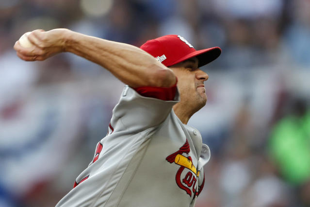 St. Louis Cardinals starting pitcher Jack Flaherty throws in the third inning of Game 5 of their National League Division Series baseball game against the Atlanta Braves, Wednesday, Oct. 9, 2019, in Atlanta. (AP Photo/John Bazemore)