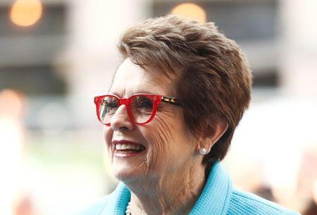 "FILE PHOTO: Former tennis player Billie Jean King arrives for the film ""Battle of the Sexes"" at the Toronto International Film Festival (TIFF), in Toronto, Canada, September 10, 2017. REUTERS/Mark Blinch"