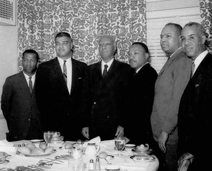 """The so-called """"Big Six"""" leaders plan the March on Washington in July 1963 (from left): SNCC's John Lewis, the National Urban League's Whitney Young Jr., labor leader A. Philip Randolph, the Rev. Martin Luther King Jr., CORE's James Farmer Jr., and the NAACP's Roy Wilkins."""