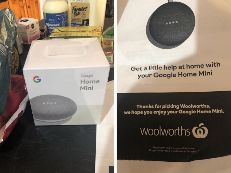"""Some Australians have been """"pleasantly surprised"""" to find a surprise gift in their Woolies shopping order. (Photo: Facebook/Stephanie Howlett Sarkany)"""