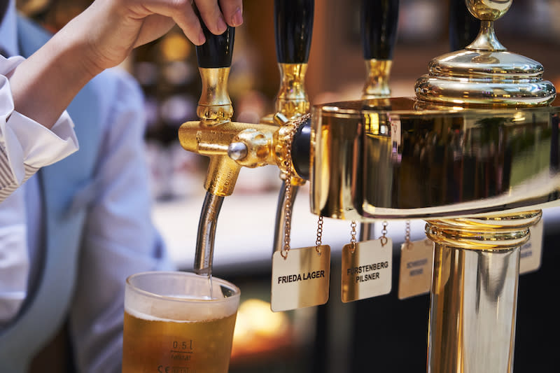 Beer on tap at the bar. Photo: The Capitol Kempinski Hotel Singapore