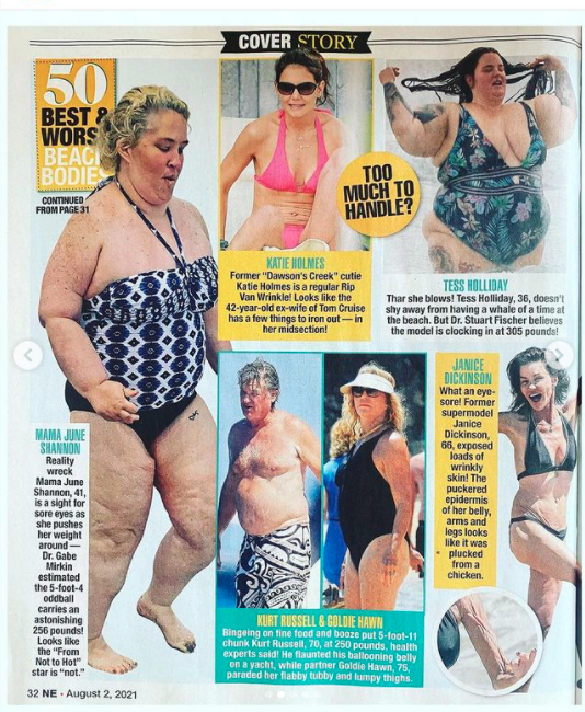 Tess Holliday on Instagram talking about The National Enquirer