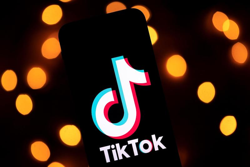 This photo taken on November 21, 2019, shows the logo of the social media video sharing app Tiktok displayed on a tablet screen in Paris: LIONEL BONAVENTURE/AFP via Getty Images