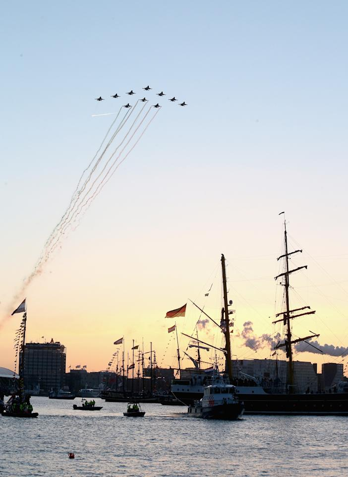 AMSTERDAM, NETHERLANDS - APRIL 30:  A fly past by the Dutch Air Force following the water pageant after the abdication of Queen Beatrix of the Netherlands and the Inauguration of King Willem Alexander of the Netherlands on April 30, 2013 in Amsterdam, Netherlands.  (Photo by Chris Jackson/Getty Images)