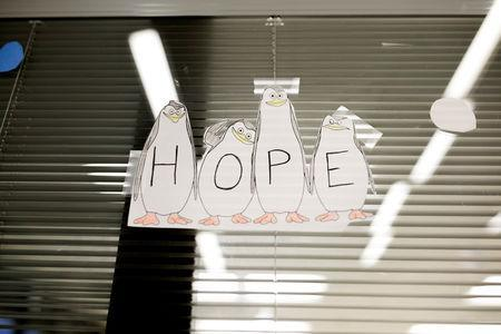 "A hope sign is posted at the Lindner Center of Hope's ""Reboot"" program in Mason, Ohio, U.S., January 23, 2019. REUTERS/Maddie McGarvey"