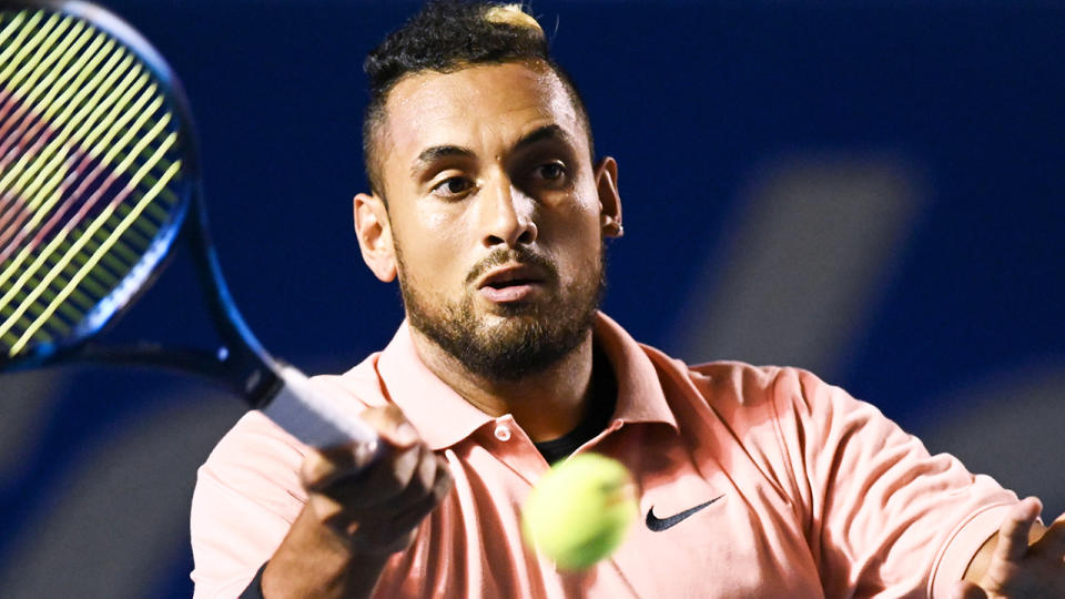 Nick Kyrgios is pictured during the Mexico open in February, 2020.