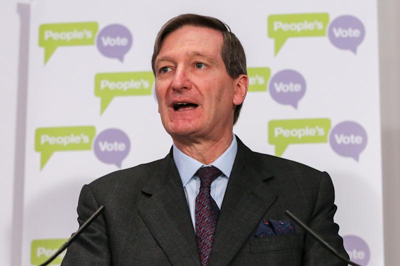 Dominic Grieve MP - Conservative former Attorney General is seen speaking at a People's Vote press conference in Westminster setting out an analysis of the different Brexit options facing Members of Parliament in indicative votes. British Prime Minister Theresa May told the backbench Tory MPs this evening that she will stand down if they back her EU withdrawal deal. (Photo by Dinendra Haria / SOPA Images/Sipa USA)