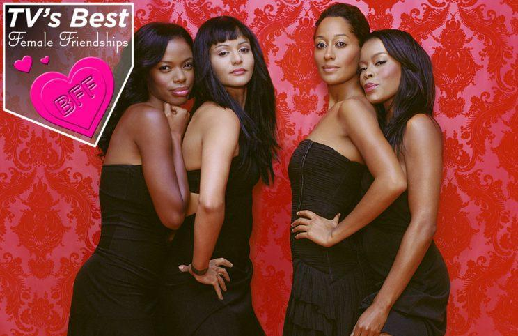 Jill Marie Jones, Persia White, Tracee Ellis Ross, and Golden Brooks of 'Girlfriends' (Photo by Darien Davis/CBS Photo Archive/Getty Images)