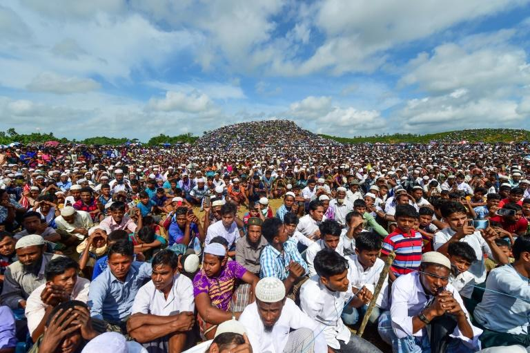 Police officers said some 200,000 Rohingya took part in the peaceful gathering in a Bangladesh refugee camp