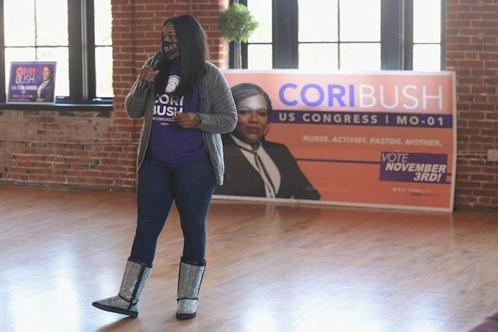Missouri Democratic Congressional Nominee Cori Bush speaks during a canvassing event on November 1, 2020 in St. Louis, Missouri. (Photo by Michael B. Thomas/Getty Images)
