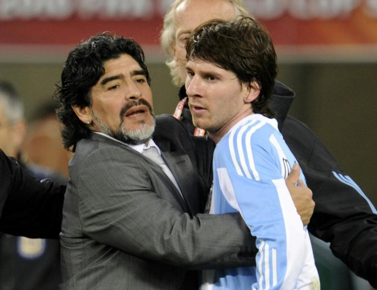 Lionel Messi (right) played under Diego Maradona (left) at the 2010 World Cup