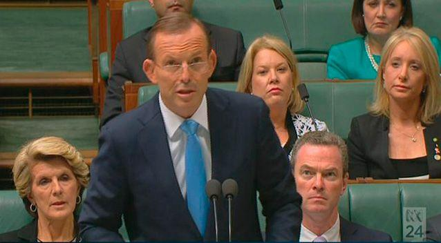 Australian Prime Minister Tony Abbott tells parliament in Canberra that satellite imagery has found two objects possibly related to the search for missing Malaysia Airlines flight MH370. Photo: ABC.