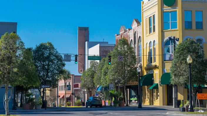 Downtown Ocala, Florida with historic building storefronts.