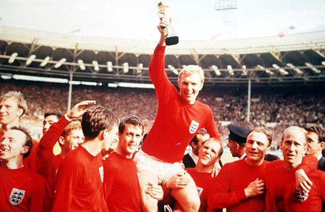 Magic moment: Captain Bobby Moore lifts the World Cup aloft – but is he England's best ever defender?