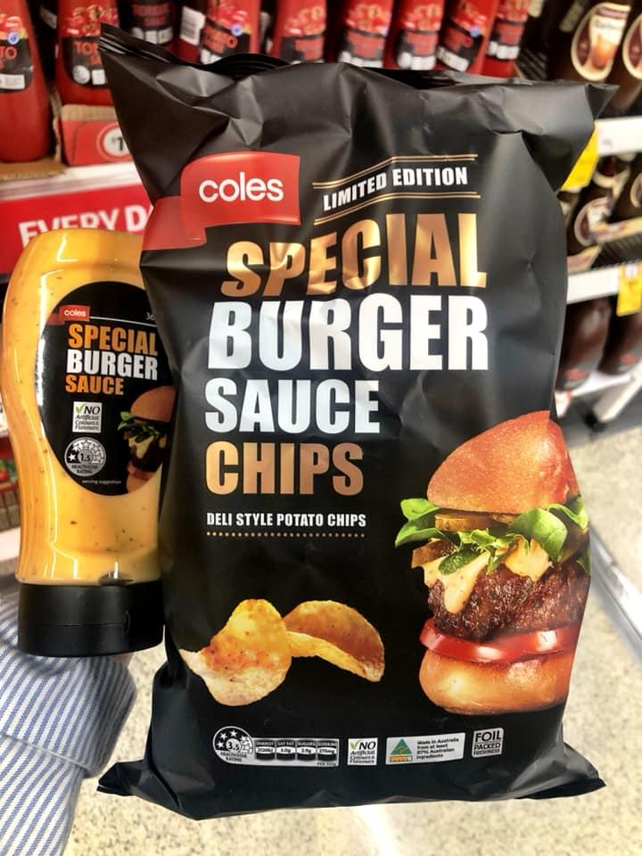 A shopper holds the Special Burger sauce chips beside the sauce that inspired them.