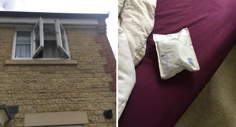 The second storey window seen slightly ajar (left). The package sits on the bed (right).