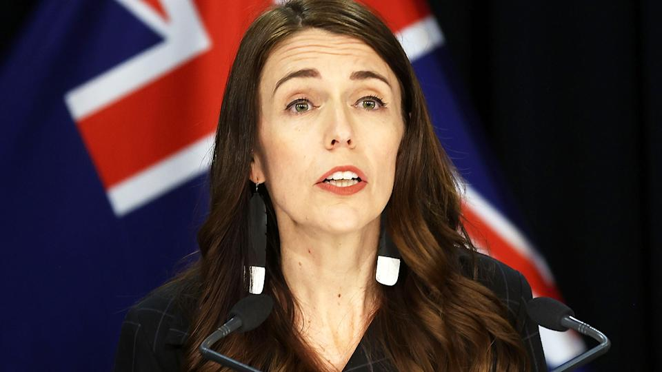 Jacinda Ardern, pictured here speaking to the media in Auckland.
