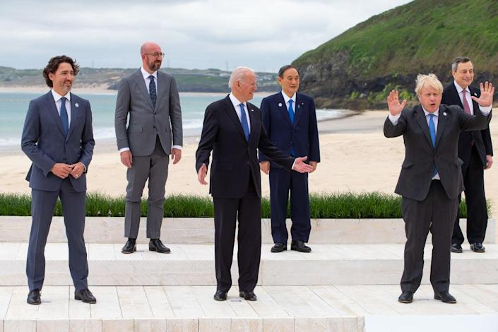 Canadian Prime Minister Justin Trudeau, President of the European Council Charles Michel, US President Joe Biden, Japanese Prime Minister Yoshihide Suga, British Prime Minister Boris Johnson and Italian Prime Minister Mario Draghi pose for the Leaders official welcome and family photo during the G7 Summit In Carbis Bay, on June 11, 2021 in Carbis Bay, Cornwall.