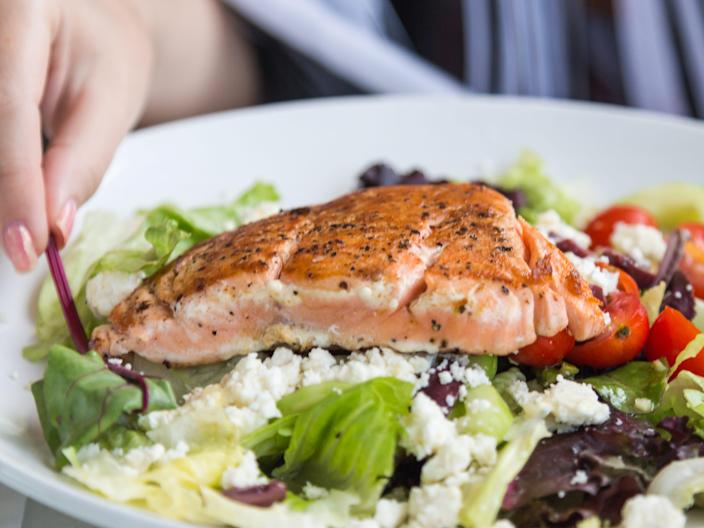 salmon salad eating fish mediterranean diet