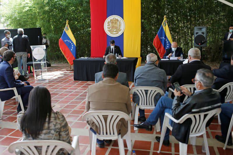 Venezuela's opposition leader Juan Guaido attends a session of Venezuela's National Assembly at a public park in Caracas