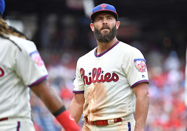 Jul 14, 2019; Philadelphia, PA, USA; Philadelphia Phillies starting pitcher Jake Arrieta (49) walks off the field after the fifth inning against the Washington Nationals at Citizens Bank Park. Mandatory Credit: Eric Hartline-USA TODAY Sports