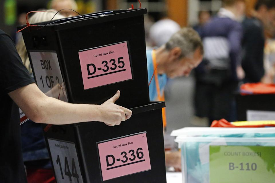 <strong>Ballot boxes at the Manchester Central Convention Complex for the European referendum vote count</strong> (Photo: LINDSEY PARNABY via Getty Images)
