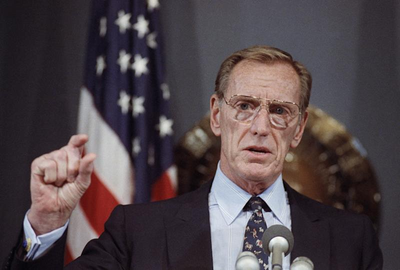 FILE - In this May 9, 1990, file photo, savings and loan financier Charles H. Keating Jr., appears at a National Press Club luncheon in Washington. Keating, the financier who was disgraced for his role in the costliest savings and loan failure of the 1980s, has died. He was 90. A person with direct knowledge of the death confirmed that Keating died but didn't provide further details. The person wasn't authorized to release the information and spoke on condition of anonymity. (AP Photo/Ron Edmonds, File)