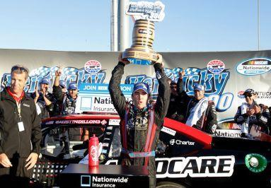 Austin Dillon in victory lane at Kentucky Speedway in 2012. (Photo by Sean Gardner/Getty Images for NASCAR)