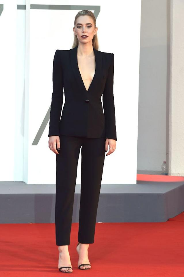 <p>Kirby wore a black suit for the premiere.</p>