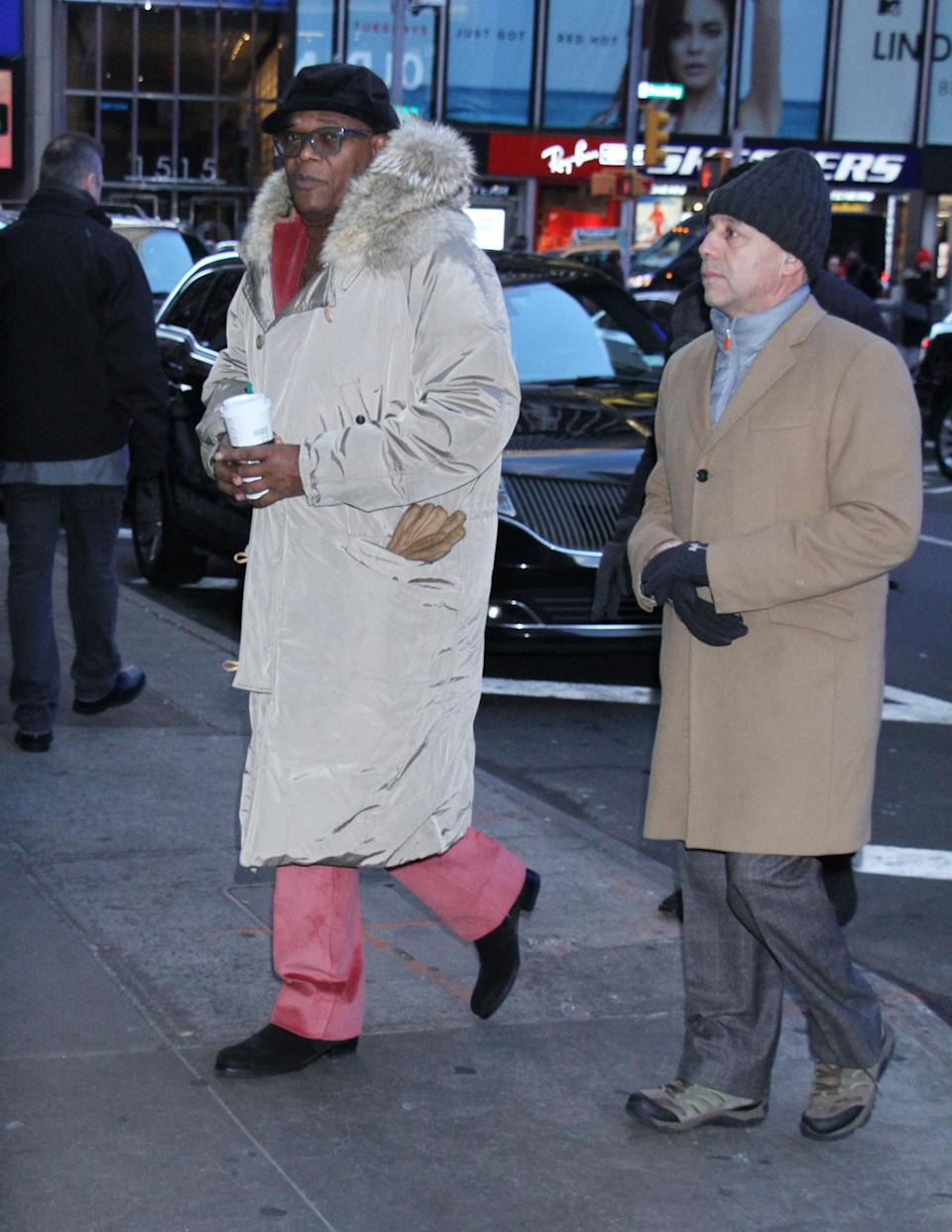 """<h1 class=""""title"""">January 15: Samuel L. Jackson</h1> <div class=""""caption""""> We are officially nominating Samuel L. Jackson's coat for Best Supporting Actor. </div> <cite class=""""credit"""">MediaPunch/Bauer-Griffin</cite>"""