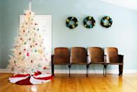 <p>Alternatively, pair an all-white tree with vibrant, neon-colored ornaments for a striking, modern focal point. </p>
