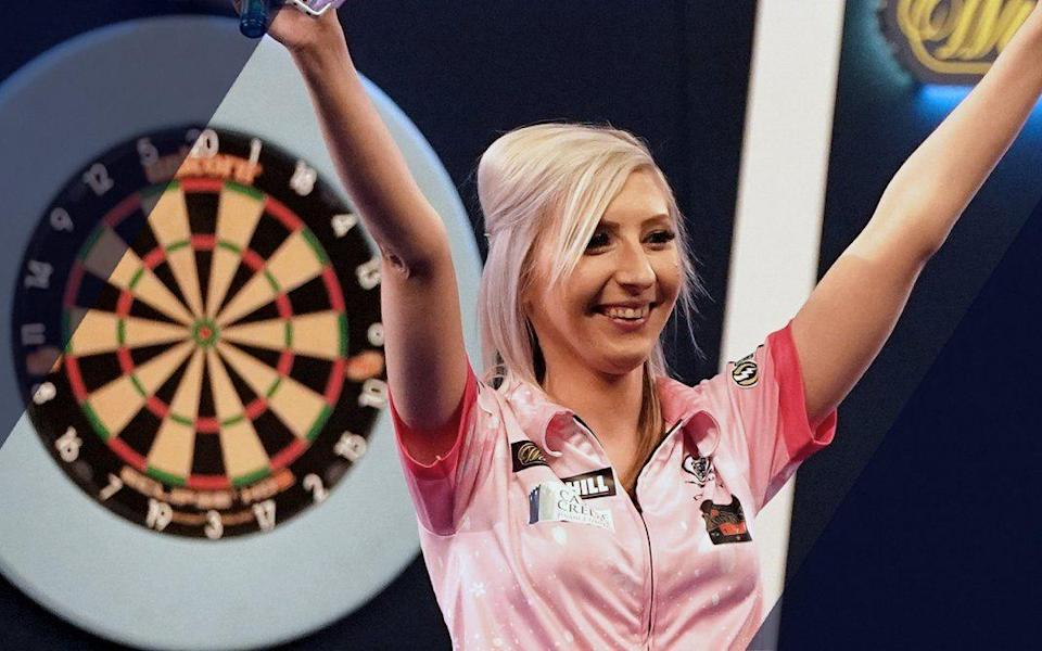 Fallon Sherrock became the first woman to reach a televised PDC final but lost to three-time world champion Michael van Gerwen at the Nordic Darts Masters.