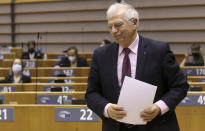 European Union foreign policy chief Josep Borrell arrives for a debate, regarding his recent trip to Russia, during a plenary session at the European Parliament in Brussels, Tuesday, Feb. 9, 2021. (Olivier Hoslet, Pool via AP)