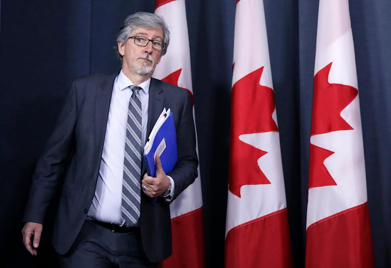 Privacy Commissioner Daniel Therrien arrives at a news conference in Ottawa on April 25, 2019.  (Photo: Chris Wattie / Reuters)