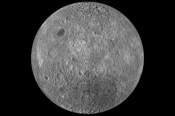 This is a composite image of the lunar farside taken by the Lunar Reconnaissance Orbiter in June 2009, note the absence of dark areas.